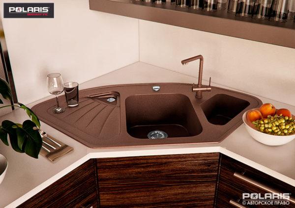 Угловая гранитная мойка для кухни brown