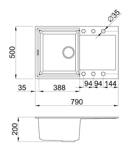 Прямоугольная кухонная гранитная мойка Метра