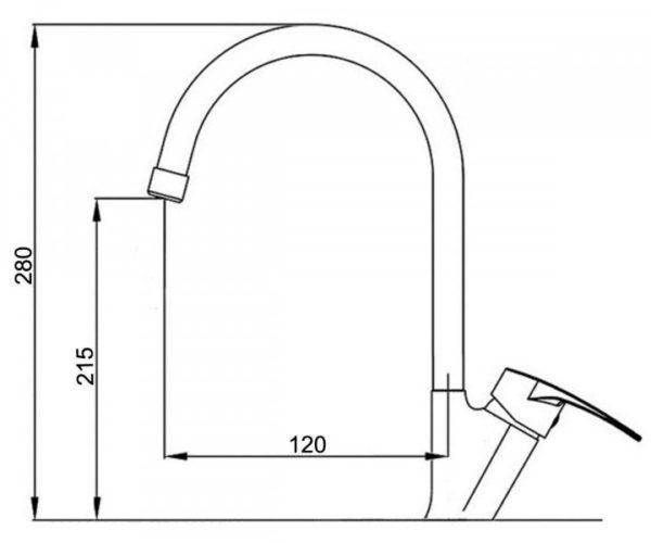 Смесител кухонный гранитный размер KAHER VEGA 03