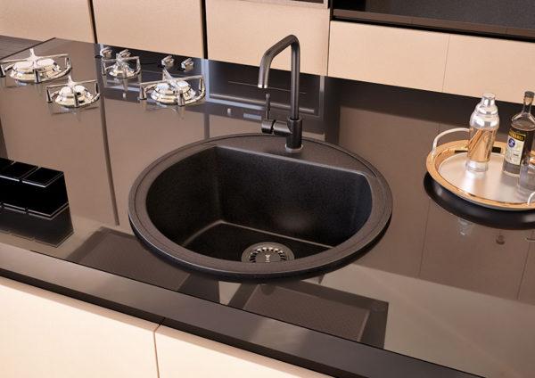 Черная мойка для кухни Паула, круглая