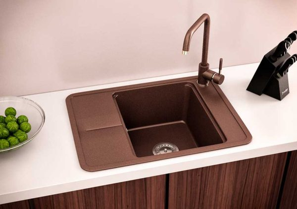 Мойка кухонная гранитная коричневая Quadro