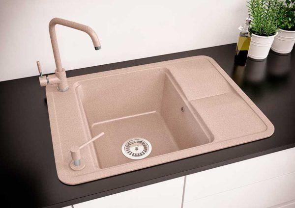 Мойка кухонная гранитная цвет авена Quadro