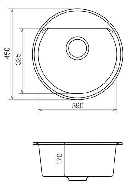 Мойка для кухни гранитная, круглая Паула