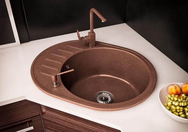 гранитная мойка для кухни Sity цвет коричневая
