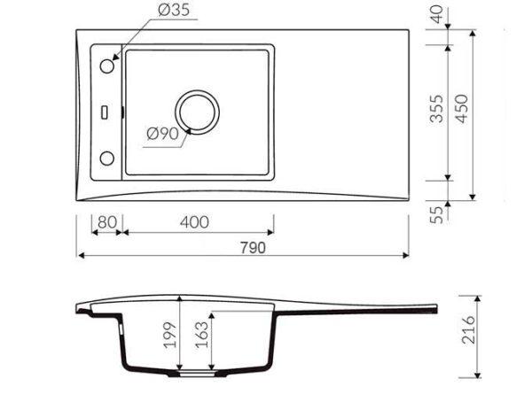 Кухонная мойка гранитная размер Sirena 80