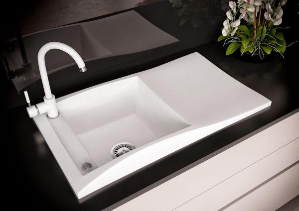 Кухонная мойка гранитная белая Sirena 80