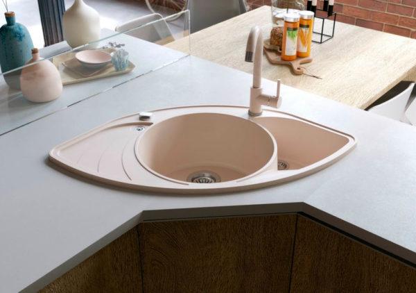 Кухонная мойка гранитная угловая авена Stella Lira 3