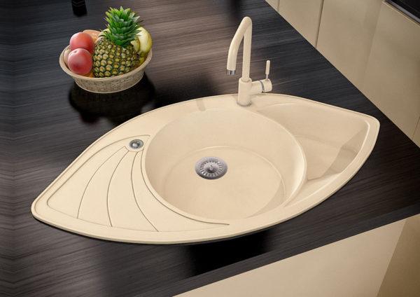 Кухонная мойка гранитная угловая бежевая Stella Lira 3