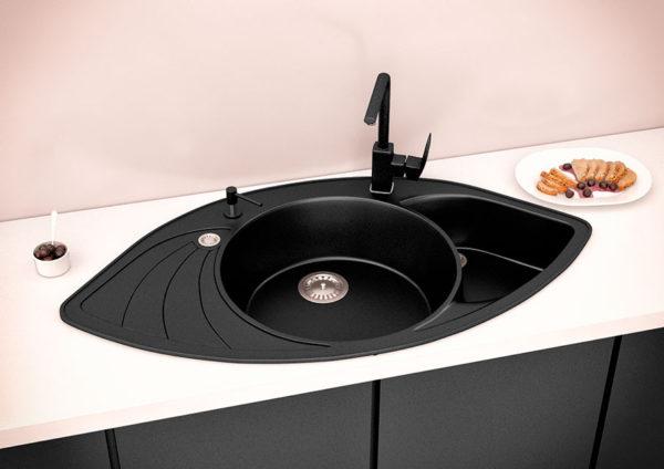 Кухонная мойка гранитная угловая черная Stella Lira 3