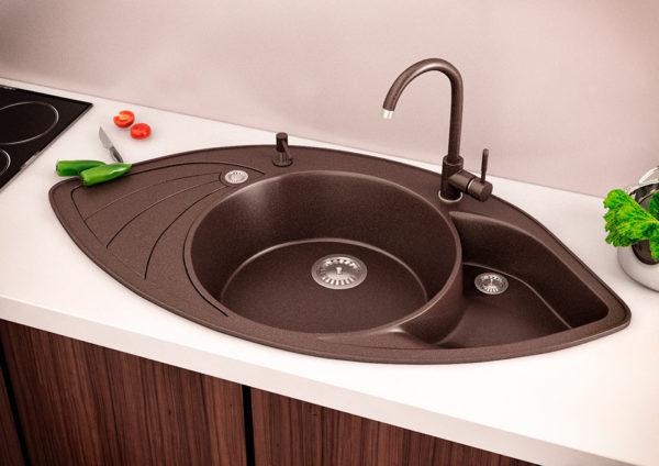 Кухонная мойка гранитная угловая коричневая Stella Lira 3