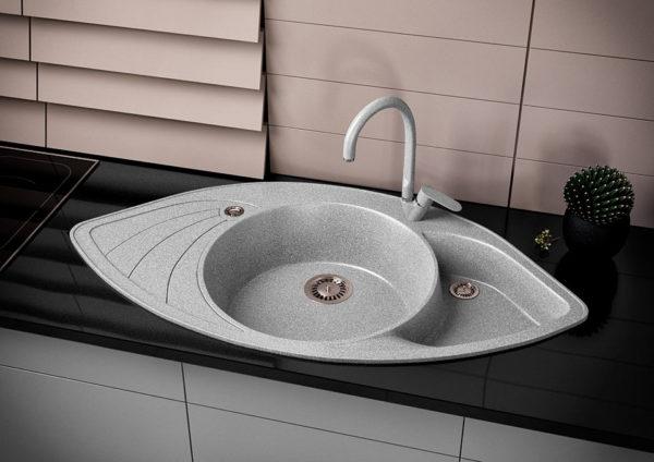 Кухонная мойка гранитная угловая серая Stella Lira 3