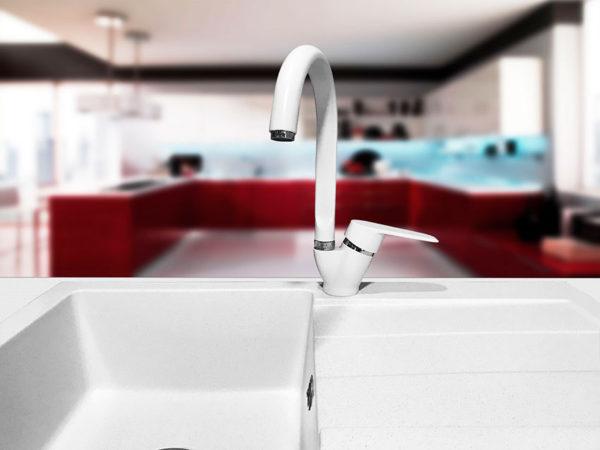 Кухонный смесител гранитный белый KAHER AIVON