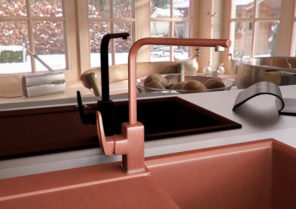 Кухонный смесител гранитный коричневый Kaher Sabin 06
