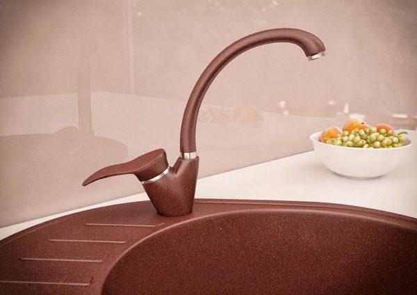 Кухонный смесител гранитный коричневый KAHER BRAVIA