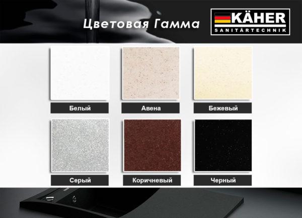 Кухонные смесители гранитные KAHER все цвета