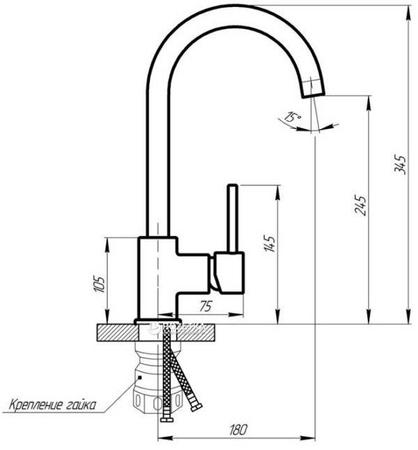 Кухонный смесител гранитный Kaher Imperial 04