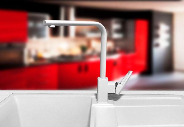 Кухонный смесител гранитный белый Kaher Sabin 06