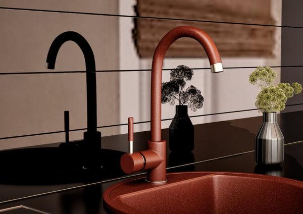 Кухонный смесител гранитный коричневый Kaher Imperial 04