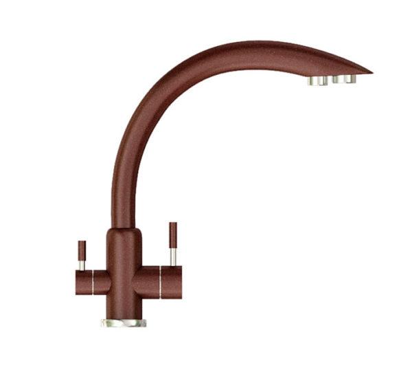 Кухонный смеситель гранитный с подключением фильтра коричневый Kaher Venecia