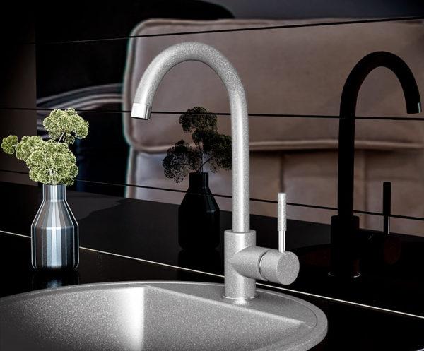Кухонный смесител гранитный серый Kaher Imperial 04