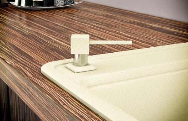 Дозатор для кухонной мойки гранитный KAHER LANDO, цвет бежевый