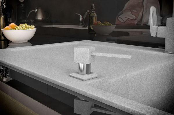 Дозатор для кухонной мойки гранитный KAHER LANDO, цвет серый
