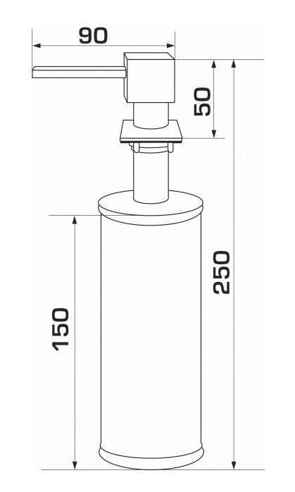 Дозатор для кухонной мойки гранитный KAHER LANDO, размер