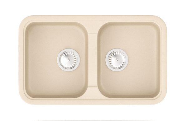 Кухонная Мойка гранитная Polaris Marin, две чаши, цвет бежевый