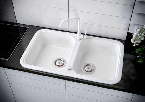 Кухонная Мойка гранитная Polaris Marin, две чаши, цвет белый