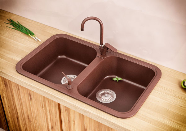 Кухонная Мойка гранитная Polaris Marin, две чаши, коричневого цвета