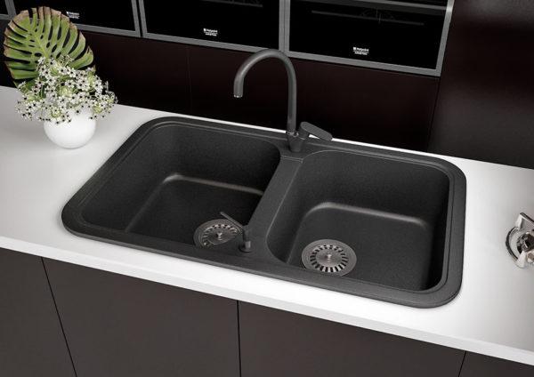 Кухонная Мойка гранитная Polaris Marin, две чаши, цвет черный