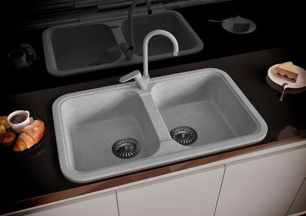 Кухонная Мойка гранитная Polaris Marin, две чаши, серого цвета