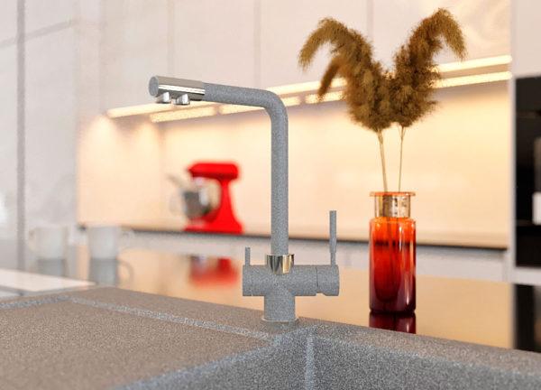 Кухонный кран с подключением фильтра черный Kaher Zegor цвет серый
