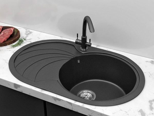 Кухонная Мойка Гранитная Черная Овальная Поларис Модерна