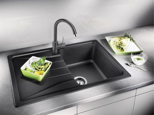 Кухонная Гранитная Мойка Черная Polaris Elegant