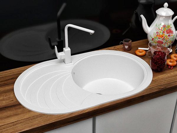 Кухонная Мойка Гранитная Белая Овальная Поларис Модерна