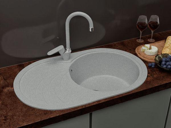 Кухонная Мойка Гранитная Серая Овальная Поларис Модерна