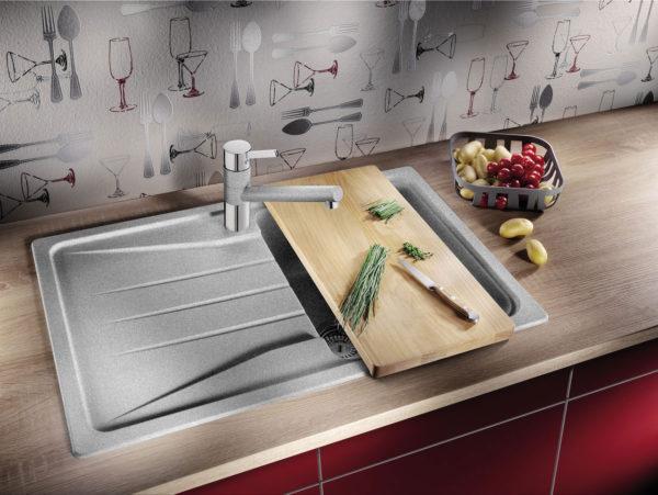 Кухонная Гранитная Мойка Серая Polaris Elegant