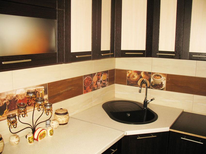 Кухня с черной раковиной фото